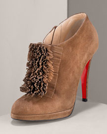 Christian Louboutin Fringe-Front Ankle Bootie