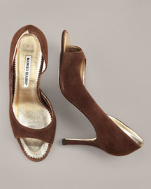 Manolo Blahnik Suede d'Orsay Pump -  Fall Collection -  Neiman Marcus :  pumps heels milas shoes