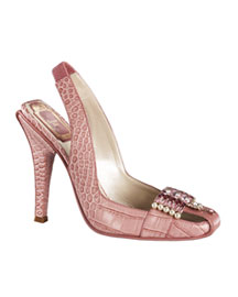 Dior             Jewel-Vamp Croc Slingback-     Embellishments-  Neiman Marcus       :  high heel shoe dior slingback