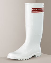 Burberry Logo Plate Rain Boot -  Burberry -  Neiman Marcus :  plate womens shoes rain gear boots