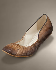 Elie Tahari Elastic Snakeskin Ballet Flat