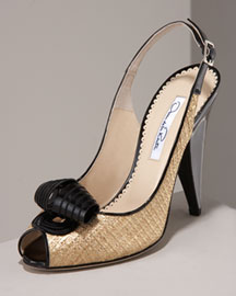 Oscar De La Renta Scroll Peep-Toe Slingback -  Premier Designer -  Neiman Marcus :  luxe womens shoes knotted buy
