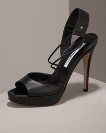 Brian Atwood Asymmetric Leather Platform Sandal