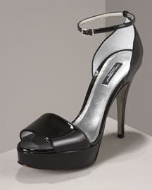 Dolce & Gabbana Patent Platform Sandal -  Sandals -  Neiman Marcus :  strappy accessories womens shoes different