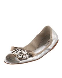Miu Miu             Metallic Stones Ballet Flat-     Embellishments-  Neiman Marcus       :  tan designer shoe ballet