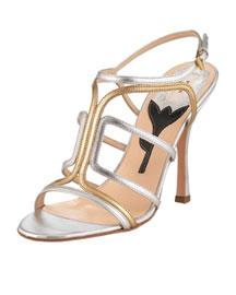 Prada Strappy Metallic Sandal -  Sandals -  Neiman Marcus :  strappy accessories womens shoes chloe