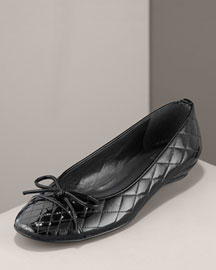 Stuart Weitzman Quilted Patent Flat