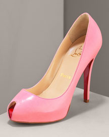 Christian Louboutin Covered Platform Peep-Toe Pump -  Premier Designer -  Neiman Marcus :  red sole christian sandals premier