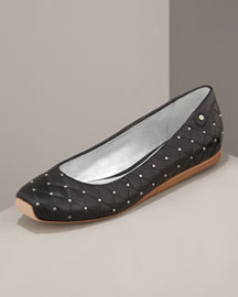Delman Quilted Leather Flat