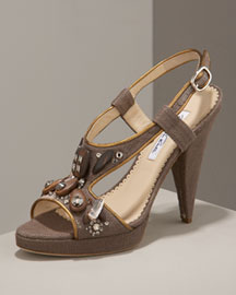 Oscar de la Renta Beaded Sandal -  Accessories -  Neiman Marcus :  apparel cutout accessories womens apparel