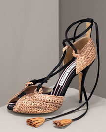 Christian Lacroix Raffia Lace Up d Orsay Pump Shoes Neiman Marcus from neimanmarcus.com