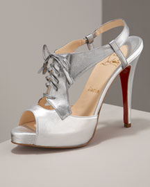 Christian Louboutin Lace-Up Oxford -  Metallics -  Neiman Marcus