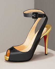 Christian Louboutin Patent Ankle-Wrap Pump