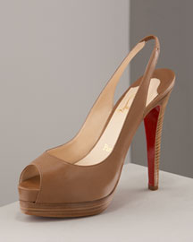 Christian Louboutin Double-Platform Slingback -  Fashion Collection -  Neiman Marcus :  natural louboutin heels shoes