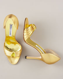 Manolo Blahnik Metallic d'Orsay -  Accessories -  Neiman Marcus :  leather shoes high heels manolo blahnik italian made
