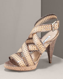 Oscar de la Renta Crisscross Sandal -  Premier Designer -  Neiman Marcus :  womens shoes whats in now crisscross platinum decorative