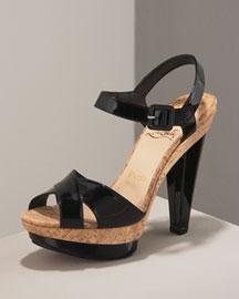 Christian Louboutin Crisscross Patent Cork Sandal