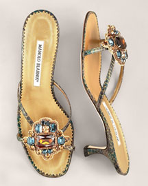 Manolo Blahnik Snake-Print Slide -  Accessories -  Neiman Marcus :  snake print cutout accessories womens apparel