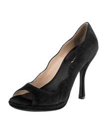 Suede Scalloped Pump -  Neiman Marcus :  nm suede black pump