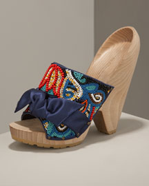 Stella McCartney Beaded Wedge Slide -  Accessories -  Neiman Marcus
