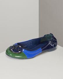 Tory Burch Lelee Color-Block Ballerina- Designer- Neiman Marcus :  tory burch ballerina flats
