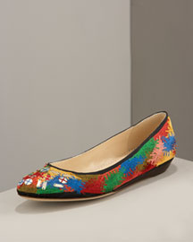 Multicolored embroidery. Black trim. Round toe; beaded detail. Kid leather lining. Flat heel. Made in Italy. from neimanmarcus.com