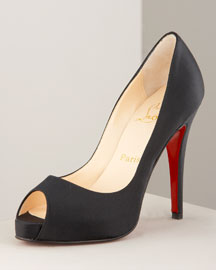 Christian Louboutin Very Prive Satin Platform Pump -  Classic Collection -  Neiman Marcus