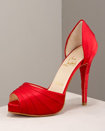 Christian Louboutin Armadillo Satin d'Orsay -  Fall Collection -  Neiman Marcus :  shoes satin shoes red pumps red shoes