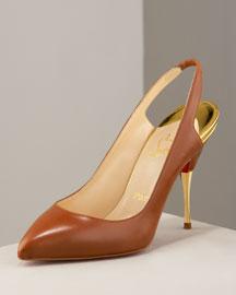 Christian Louboutin Metal Heel Slingback- Christian Louboutin- Neiman Marcus :  elegant designs heels incircle evening