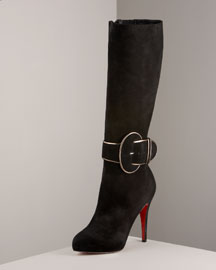 Christian Louboutin Trotte Buckled Suede Boot -  Premier Designer -  Neiman Marcus from neimanmarcus.com