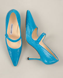 Manolo Blahnik Snakeskin Pointed-Toe Mary Jane 	 :  pointed toe shoes snakeskin turquoise