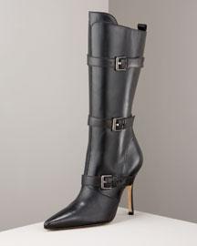 Manolo Blahnik Mid-Calf Buckled Boot- Premier Designer- Neiman Marcus from neimanmarcus.com