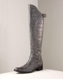 Henry Beguelin            Crocodile Knee Boot-  Flat Boots-Neiman Marcus :  flat boots knee boots crocodile henry beguelin