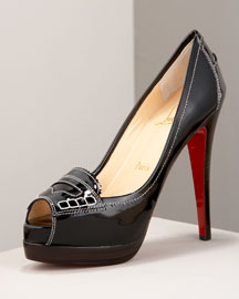 Christian Louboutin            Peniche Patent Loafer Pump -   		Christian Louboutin - 	Neiman Marcus from neimanmarcus.com