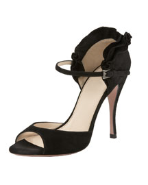 Suede Ruffle Sandal- Neiman Marcus