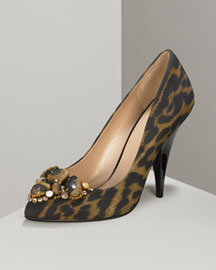Yves Saint Laurent Jeweled Silk Pump -  Pumps -  Neiman Marcus :  leopard printed shoes pumps leopard animal print