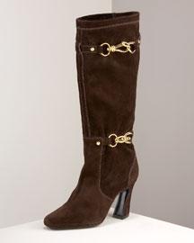 Donna Karan Suede Mid-Calf Boot- Accessories- Neiman Marcus