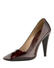 Prada Asymmetrical Square-Toe Pump -  Women's -  Neiman Marcus :  square toe pump designer shoes patent leather shoes prada