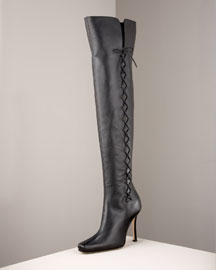 Manolo Blahnik Lace-Up Knee Boot -  Premier Designer -  Neiman Marcus