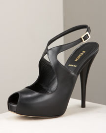 Fendi            Ankle-Wrap Platform Pump-  Fendi-Neiman Marcus