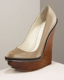 Stella Mccartney Patent Platform Pump -  Shoes & Handbags -  Neiman Marcus :  wooden wedge heel women apparel brand clothing women clothes