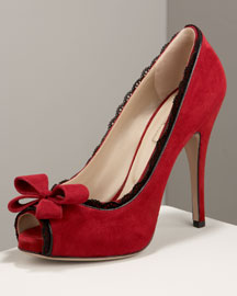 Valentino Dentelle Lace-Trim Pump -  High-Vamp Shoes -  Neiman Marcus :  nm suede peep toe valentino