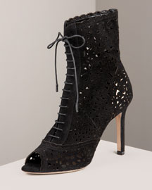 Valentino Laser-Cut Ankle Boot -  Lace -  Neiman Marcus