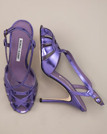 Purple Metallic Sandals from Manolo Blahnik   Manolo Likes!  Click!