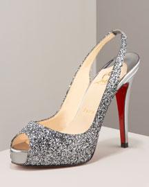 X0BZH Christian Louboutin Glitter Sling Back Heel
