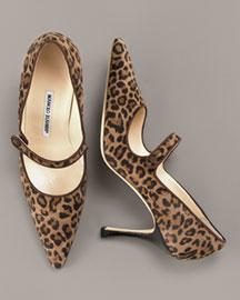 Manolo Blahnik Leopard-Print Suede Mary Jane- Daytime- Neiman Marcus :  pointed toe pumps manolo blahnik leopard