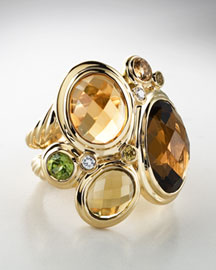 David Yurman: Oval Mosaic Ring :  diamonds cinnamon yellow sapphire pave diamonds