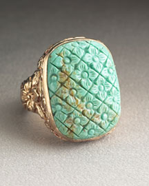 Stephen Dweck Carved Turquoise Ring -  Blue & Green -  Neiman Marcus