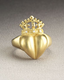 Kieselstein-Cord Diamond-Trim Heart Ring- Rings- Neiman Marcus