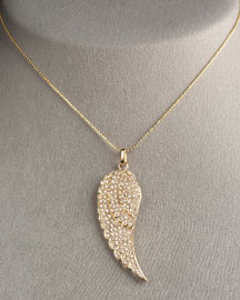 Sydney Evan Angel Feather Necklace -  Necklaces -  Neiman Marcus :  diamond diamonds necklace pave